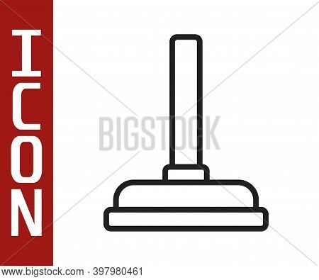 Black Line Rubber Plunger With Wooden Handle For Pipe Cleaning Icon Isolated On White Background. To