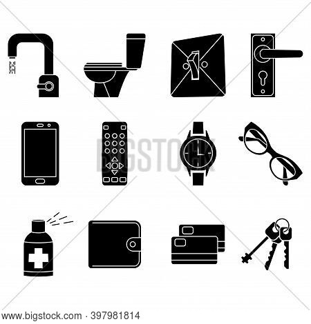 Disinfection Of Premises Concept Icon. Sterile Surface. Sanitation At Home. Sanitizing Home Items Of