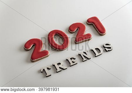 Inscription 2021 Trends On White Background. Popular Destinations In 2021