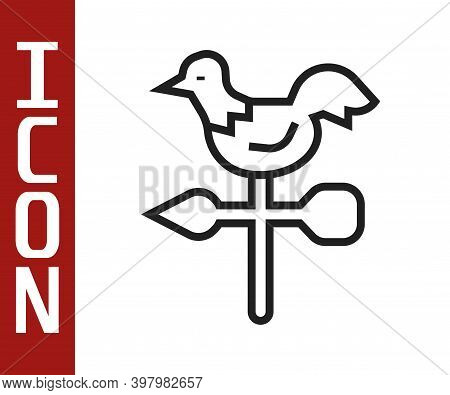 Black Line Rooster Weather Vane Icon Isolated On White Background. Weathercock Sign. Windvane Rooste