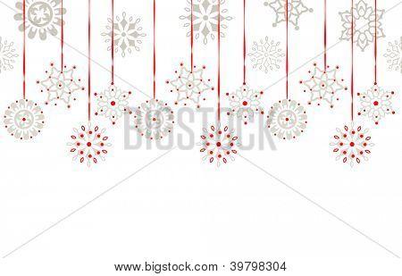 Hanging snowflake border copyspace below