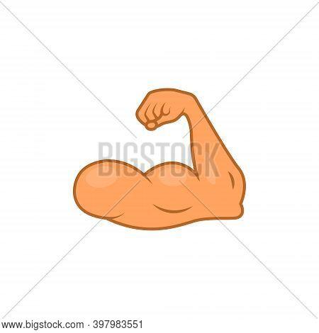Arm Emoji Strong Muscle Flex Bicep. Emoticon Hand Cartoon Gym Bodybuilder Icon