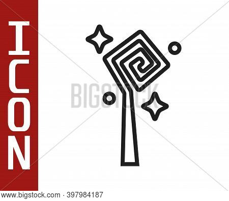 Black Line Magic Staff Icon Isolated On White Background. Magic Wand, Scepter, Stick, Rod. Vector