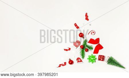 Holiday Winter Background. Stocking, Gifts, Winter Tree, Ribbon And Bow In Christmas Composition On