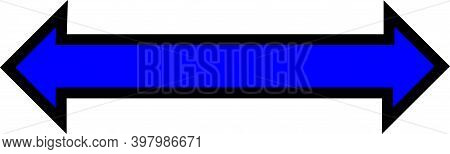 An Horizontal Blue Arrow With A Thick Black Boarder Is Pointing To The Left And To The Right.