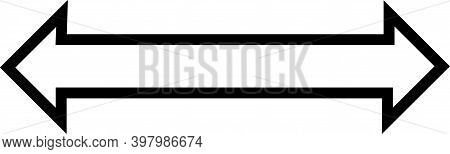 A Horizontal Arrow Pointing To Both Left And The Right Woth A Black Boarder And No Color Fill.
