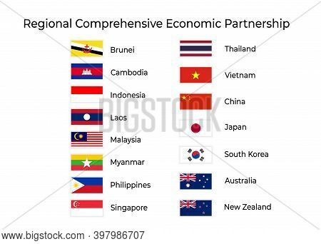 Colorful Naturalistic Waving Flag Of Regional Comprehensive Economic Partnership. Vector Illustratio
