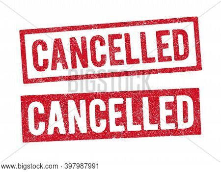 Vector Illustration Of The Word Cancelled In Red Ink Stamp In Two Different Styles
