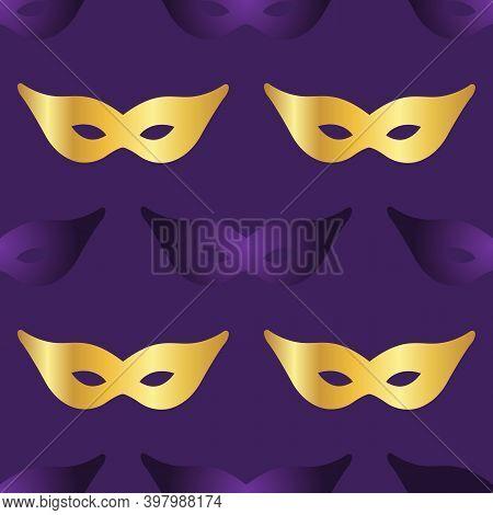 Carnaval Mask Seamless Pattern Backround. Vecor Illustration