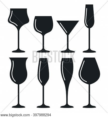 Wine Glass Cup Icon Set. Red Wine Symbol Pour Drink Beverage Silhouette, Glass Cup