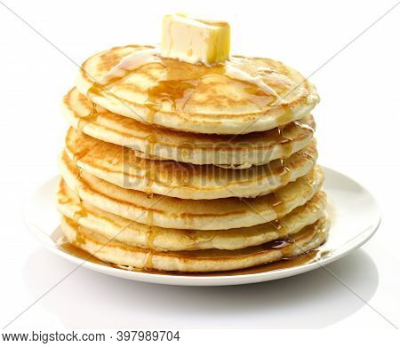 Pancakes. Sweet Honey Pouring Over Pancakes. Tasty Breakfast Food. Stack Of American Pancakes . Hone