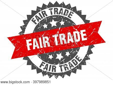 Fair Trade Grunge Stamp With Red Band. Fair Trade