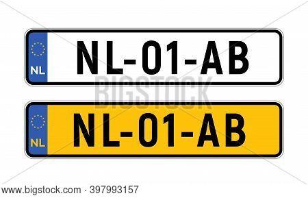Netherlands Dutch License Plate. European Netherlands Car Auto Plate Number