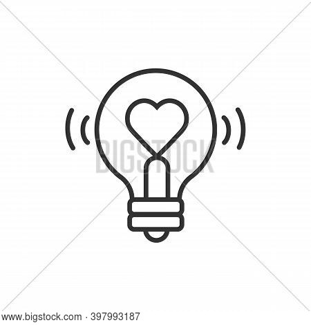Heart Shape In A Light Bulb Line Icon, Outline Vector Sign, Linear Style Pictogram Isolated On White