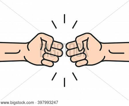 Fist Bump Icon Hand. Strong Fight Vector Friendship Bro Flat Fist Bump Icon Desing