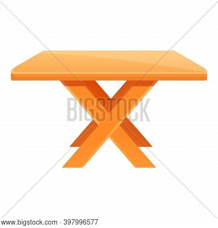 Bbq Table Icon. Cartoon Of Bbq Table Vector Icon For Web Design Isolated On White Background