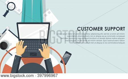 Live Support Banner. Business Customer Care Service Concept. Icon For Contact Us, Support, Help, Pho