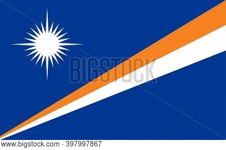 Marshall Island Flag Official Republic Symbol Icon. National Marshall Flag Illustration