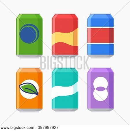 Vector Soda Can Icon Isolated. Soda Bottle Beer Flat Icon.