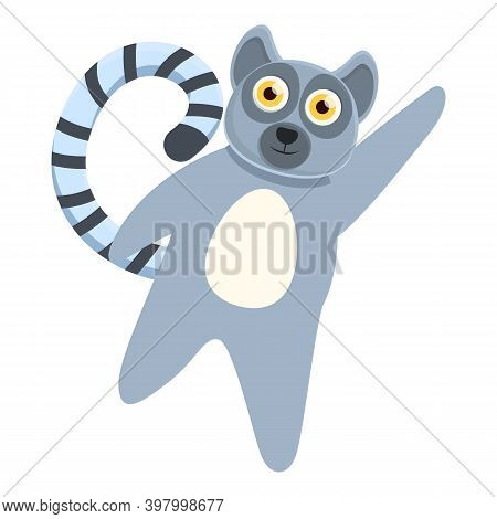 Lemur Say Hello Icon. Cartoon Of Lemur Say Hello Vector Icon For Web Design Isolated On White Backgr