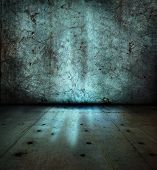 Stone wall and floor,with mysterious blue glowing light poster