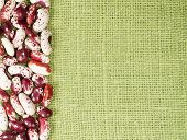 Frame of red haricot beans on green canvas background poster