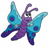 Cute blue and purple butterfly - vector illustration. poster