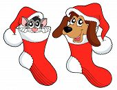 Cute cat and dog in Cristmas cap - vector illustration. poster