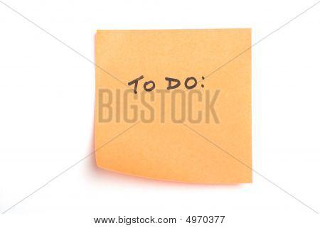Orange Note Isolated On White
