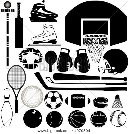 Sports equipment and balls in detailed vector silhouette poster