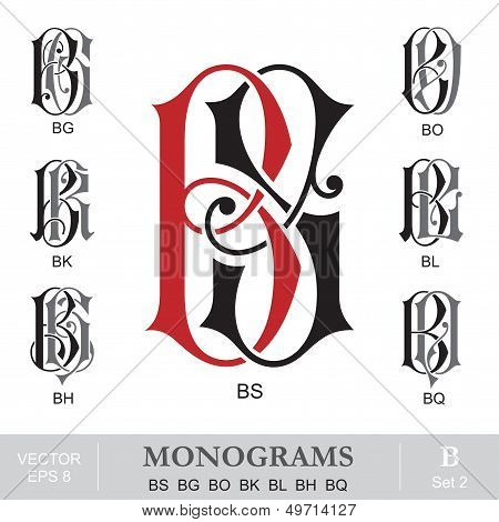 Vintage Monograms BS BG BO BK BL BH BQ