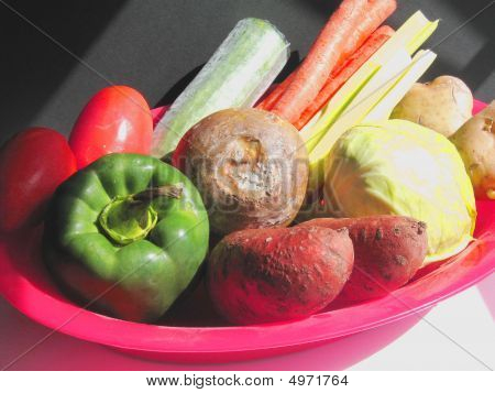 Vegetables In Red Bowl