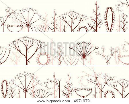Horizontal Banner Of Different Types Of Inflorescence.