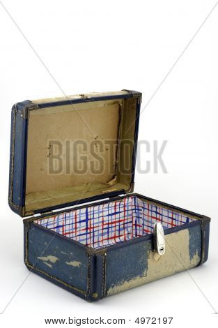 Battered Old Suitcase Open On White