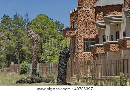 Side view at rooms with balcony of Chateau de Nates, South Africa