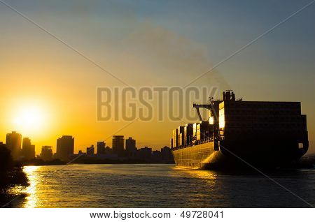 Sunset Container Ship