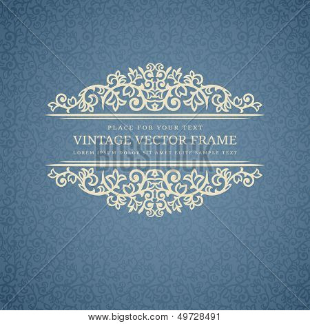 Vintage Beige Frame on Blue Retro Background