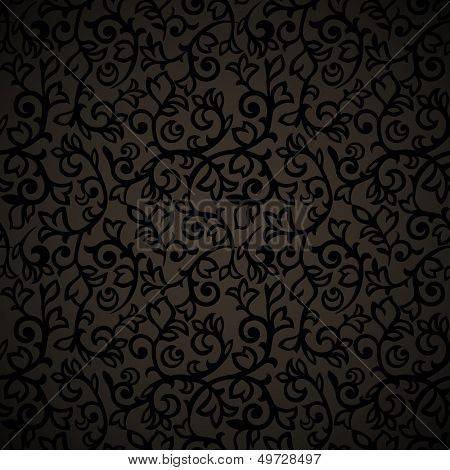 Vintage seamless pattern with curls on dark background