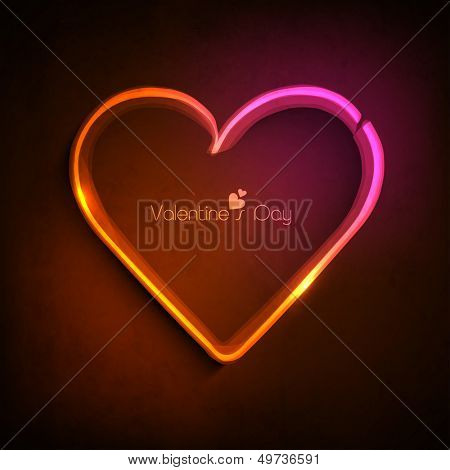 Happy Valentines Day concept with colorful shiny heart on brown background.