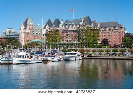 VICTORIA, BRITISH COLUMBIA, CANADA - JULY 7: The Fairmont Empress Hotel facade on July 7, 2013 in Victoria, British Columbia, Canada. It is among the oldest and most prominent hotel in Victoria.