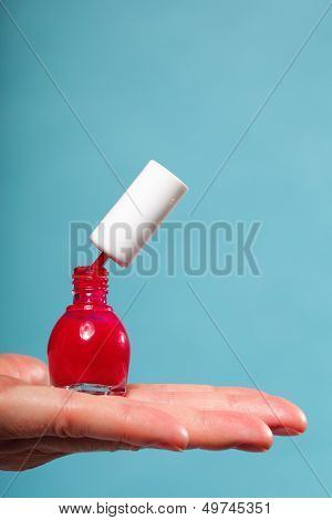 Pedicure Manicure Red Nail Polish On Female Palm