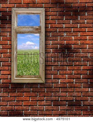 Red Grunge Brick Wall Frame Background Texture
