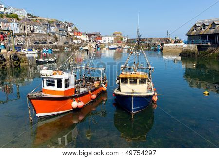 Mevagissey Cornwall England boats in the harbour on a beautiful summer day poster