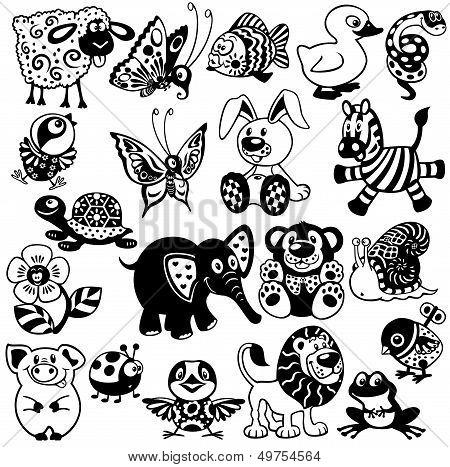 Set Of Black White Pictures For Children