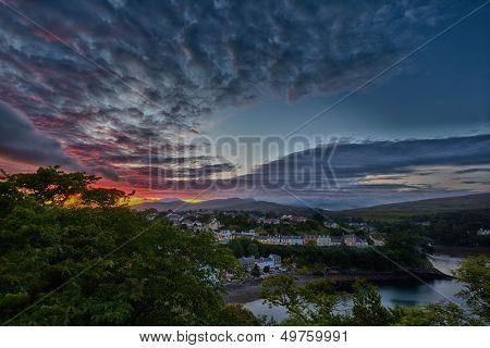 aerial view on Portree before sunset, Isle of Skye, Scotland