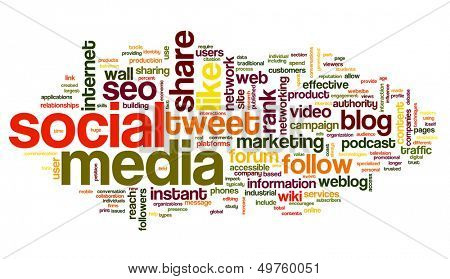 Social media concept in word tag cloud on white background poster