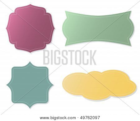 Elegant Vector Tags In Different Color Over White