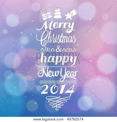 Beautiful Merry Christmas and Happy New Year card design with bokeh effect. Vintage vector out of focus background with  typographic congratulation. 2014 invitation