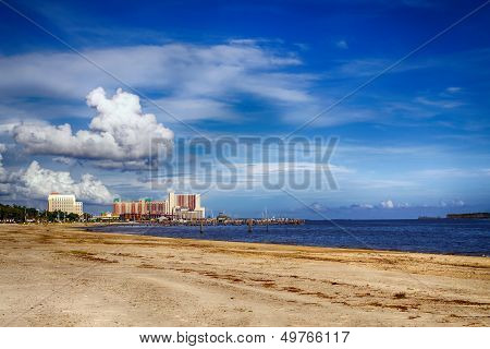 Biloxi, Mississippi, casinos and buildings along Gulf Coast shore