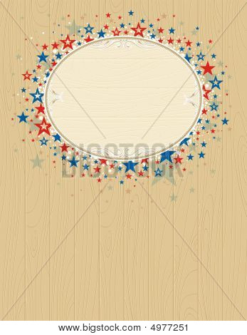 Wooden Usa Background With Stars